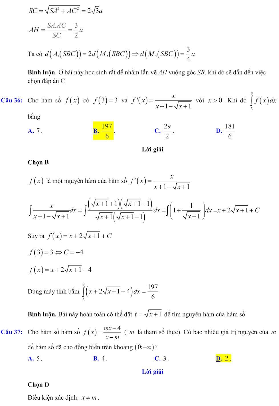 Đáp án đề minh họa thi thpt quốc gia môn toán 2020 lần 1_12