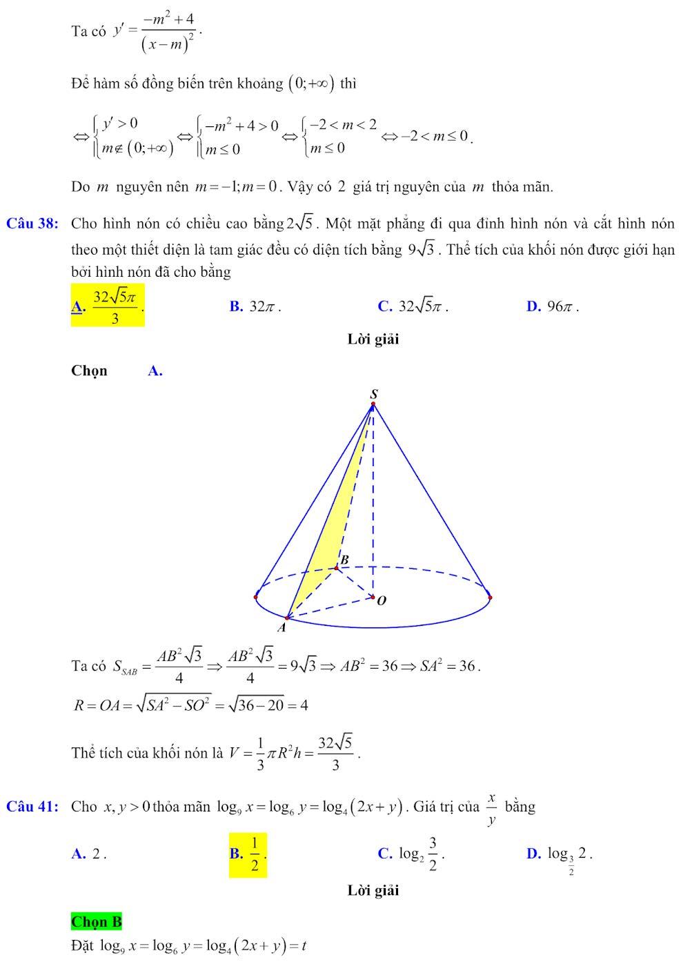 Đáp án đề minh họa thi thpt quốc gia môn toán 2020 lần 1_13