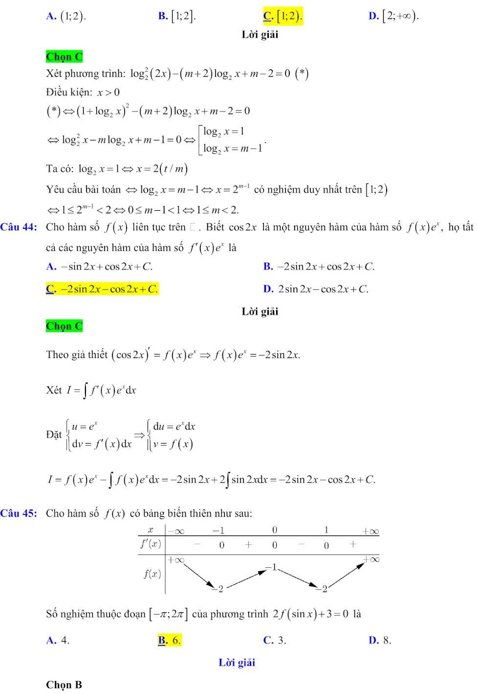 Đáp án đề minh họa thi thpt quốc gia môn toán 2020 lần 1_16