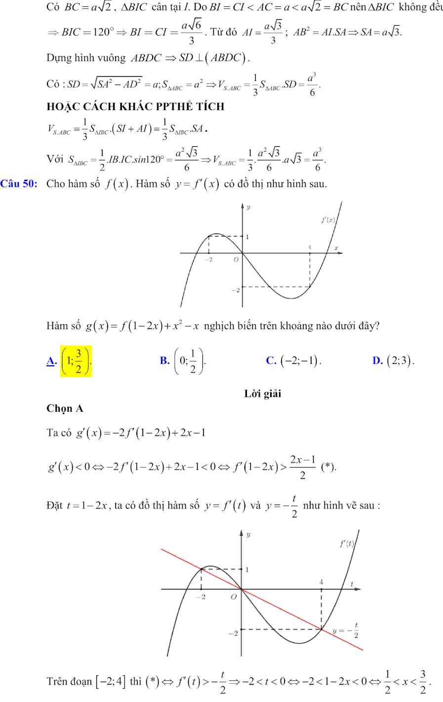 Đáp án đề minh họa thi thpt quốc gia môn toán 2020 lần 1_23