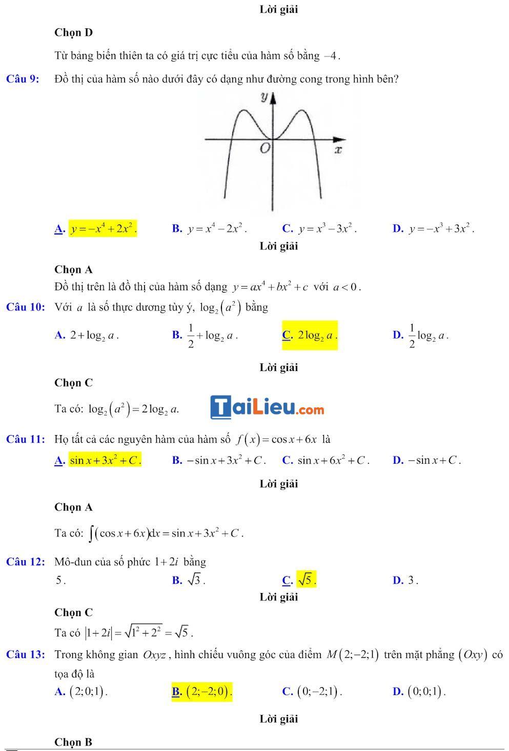 Đáp án đề minh họa thi thpt quốc gia môn toán 2020 lần 1_3