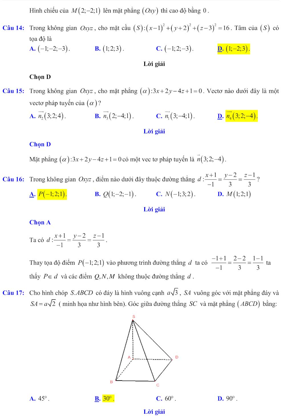 Đáp án đề minh họa thi thpt quốc gia môn toán 2020 lần 1_4