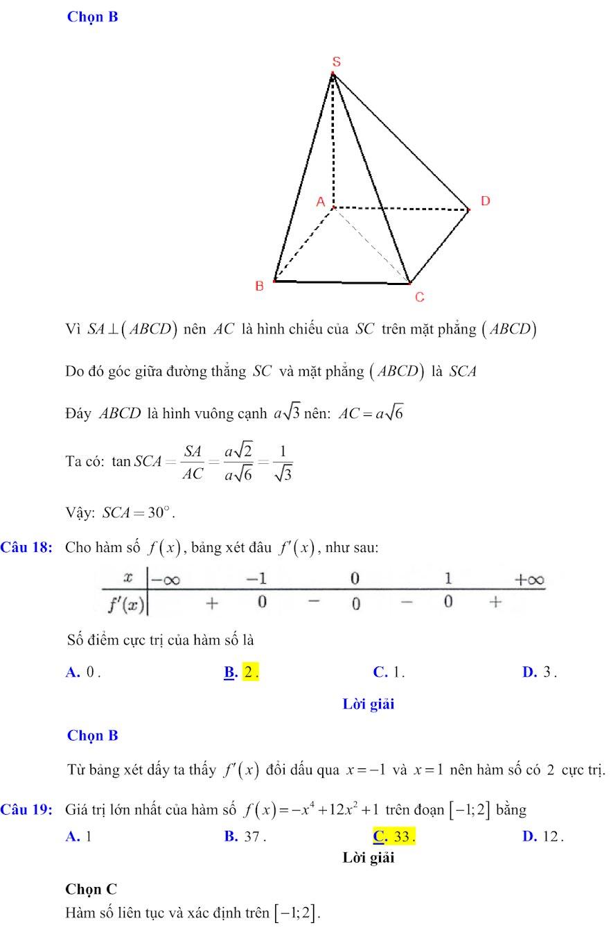 Đáp án đề minh họa thi thpt quốc gia môn toán 2020 lần 1_5