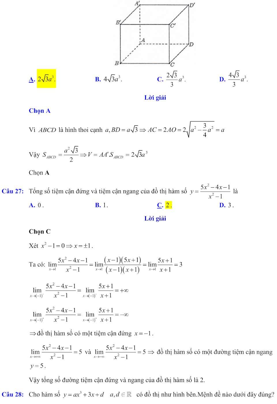 Đáp án đề minh họa thi thpt quốc gia môn toán 2020 lần 1_7