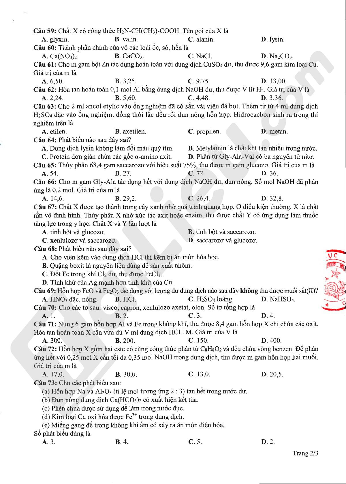 Đề minh họa thi tốt nghiệp THPT 2020 môn hóa lần 2_2