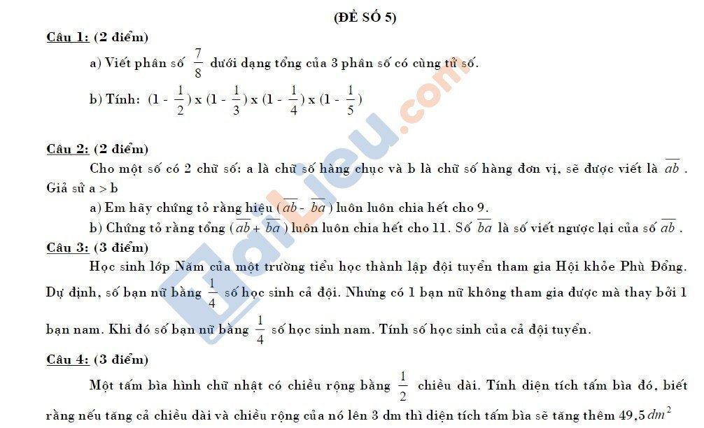 10 Đề thi vào lớp 6 môn toán 2020 mới nhất_15