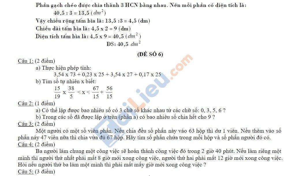 10 Đề thi vào lớp 6 môn toán 2020 mới nhất_18