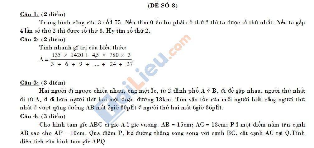 10 Đề thi vào lớp 6 môn toán 2020 mới nhất_27