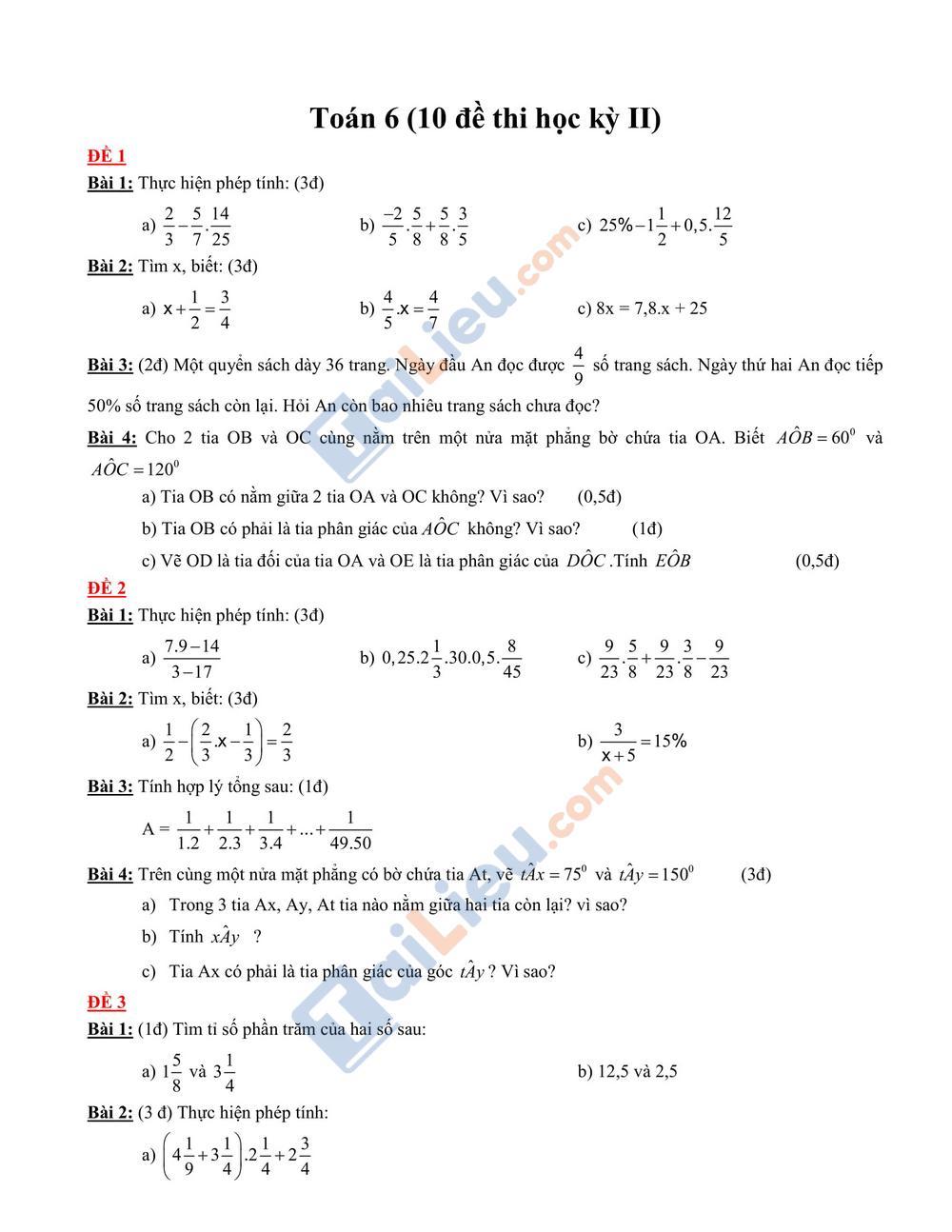 Đề thi học kỳ 2 môn toán lớp 6 2020 mới nhất_1
