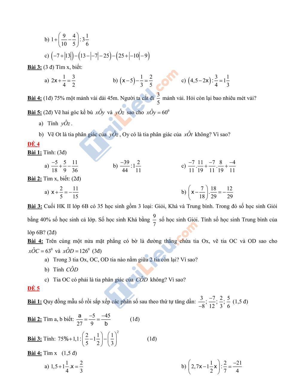 Đề thi học kỳ 2 môn toán lớp 6 2020 mới nhất_2