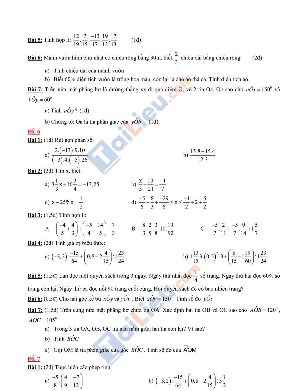 Đề thi học kỳ 2 môn toán lớp 6 2020 mới nhất_3