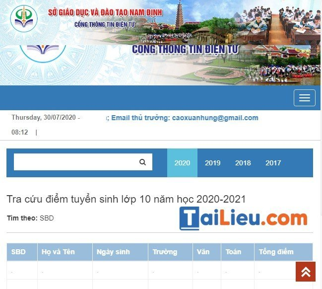 Hướng dẫn cách xem điểm thi tuyển sinh lớp 10 năm 2020 Nam Định