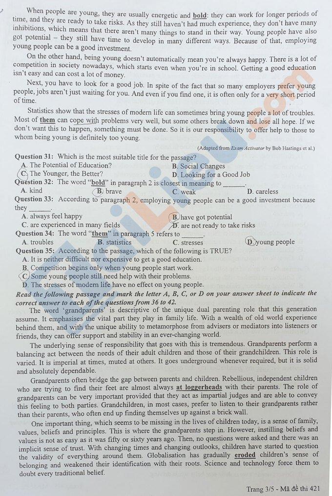 Đề thi THPT quốc gia môn tiếng Anh năm 2020 đợt 2 mã đề 421_3
