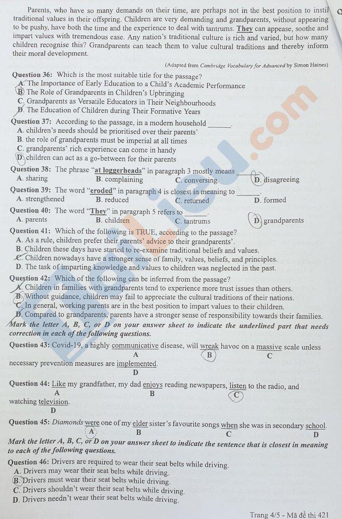 Đề thi THPT quốc gia môn tiếng Anh năm 2020 đợt 2 mã đề 421_4