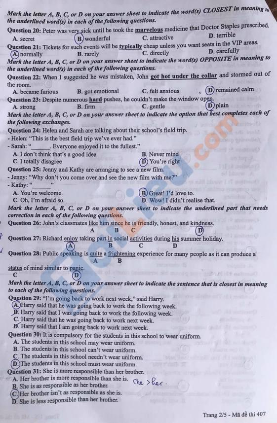 Đề thi tốt nghiệp THPT năm 2020 môn Anh mã đề 407-2
