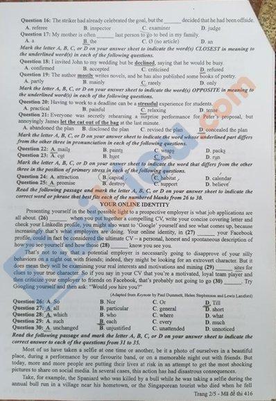 Đề thi tốt nghiệp THPT năm 2020 môn Anh mã đề 416-2