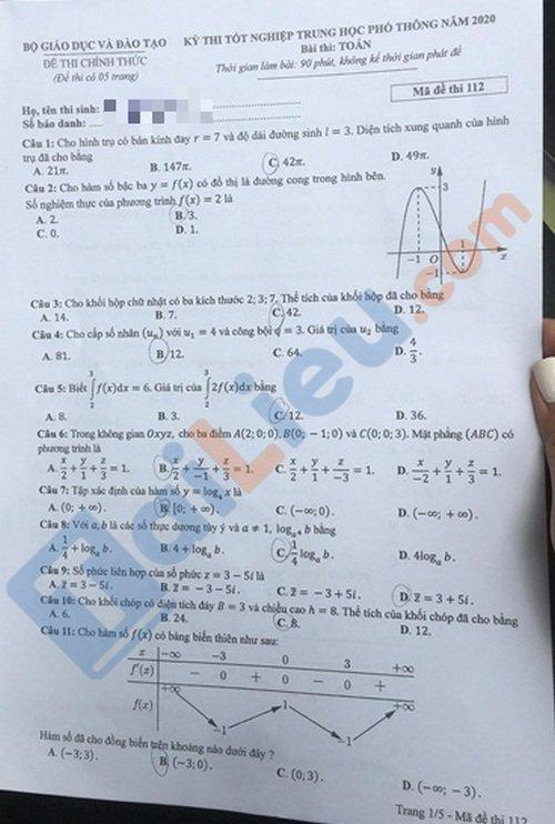 Đề toán thi tốt nghiệp phổ thông trung học 2020 mã đề 112_1