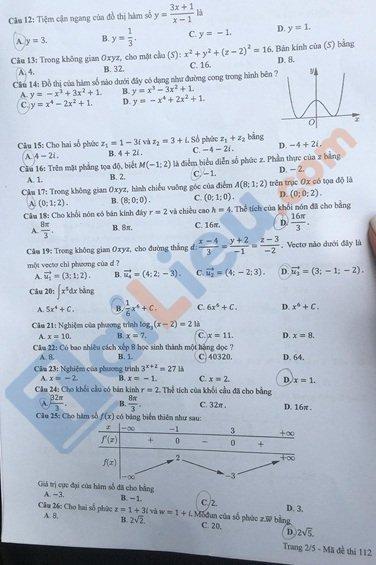 Đề toán thi tốt nghiệp phổ thông trung học 2020 mã đề 112_3