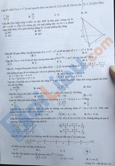 Đề toán thi tốt nghiệp phổ thông trung học 2020 mã đề 112_4