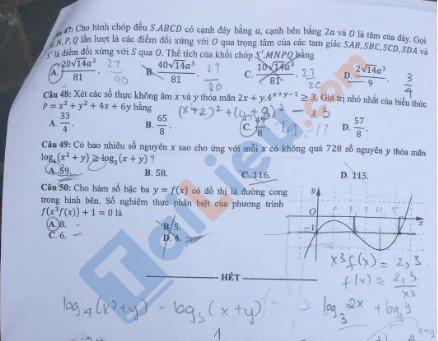 Đề thi môn Toán mã đề 101 thi THPT quốc gia 2020_5