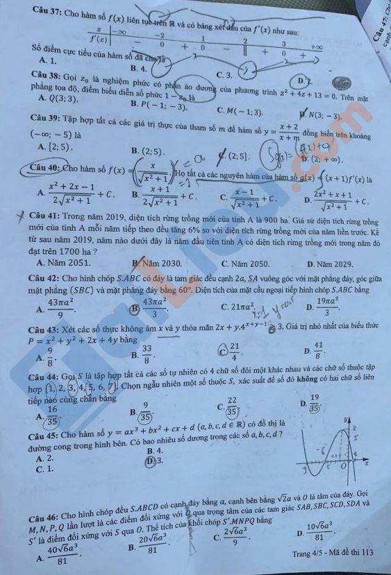 Đề toán thi tốt nghiệp THPT 2020 mã đề 113_4