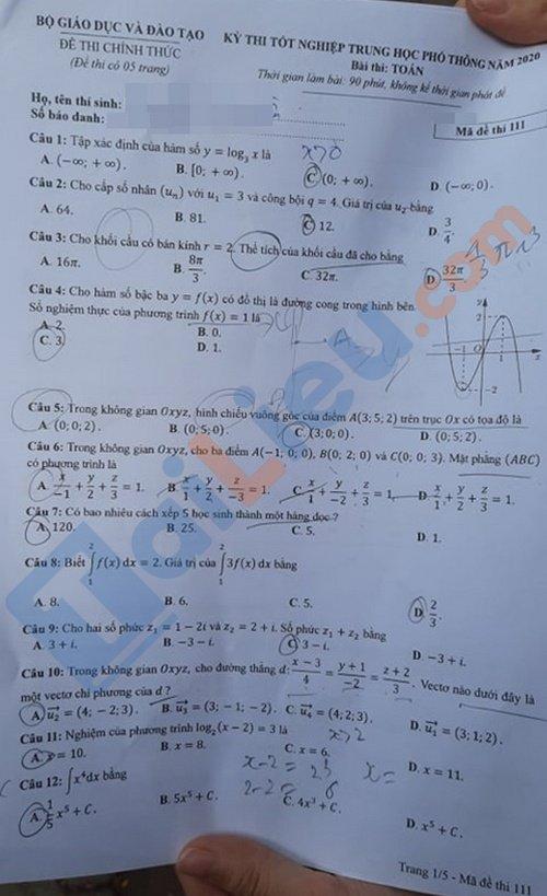Đề toán thi tốt nghiệp phổ thông trung học 2020 mã đề 111_1