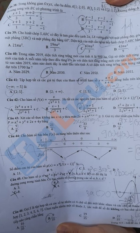 Đề toán thi tốt nghiệp phổ thông trung học 2020 mã đề 111_4