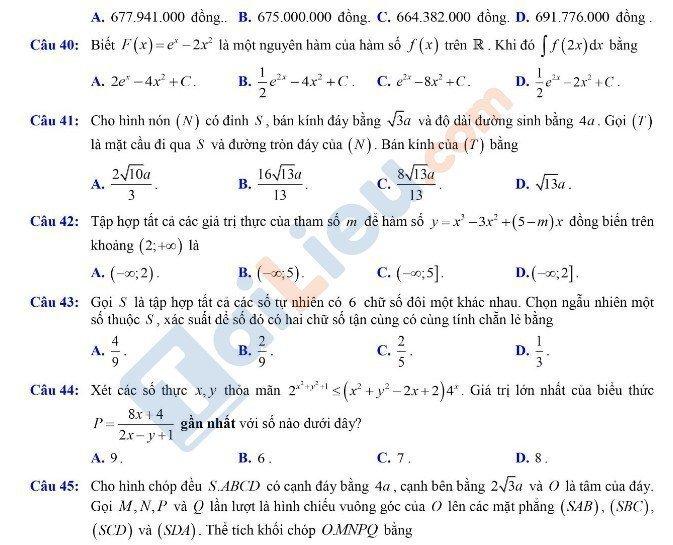 Đề thi THPTQG môn Toán 2020 đợt 2 mã đề 102_9