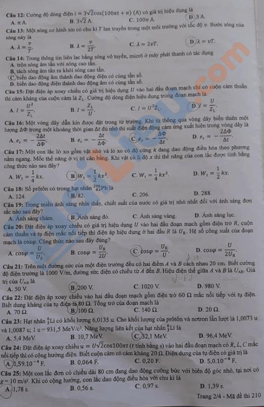 Đáp án môn Lý thi THPT quốc gia năm 2020 mã đề 210_2