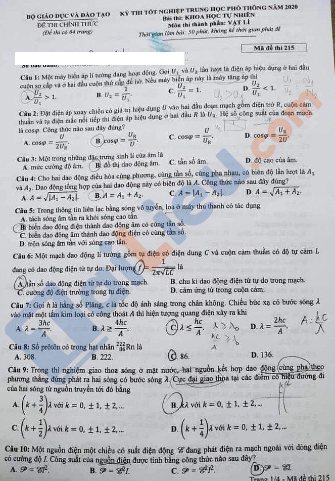 Đề thi THPT quốc gia môn vật lý 2020 mã đề 215_1