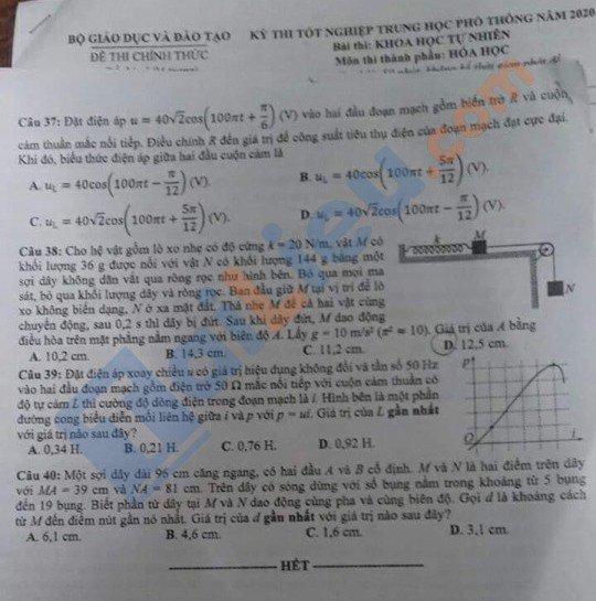 Đề thi THPT quốc gia môn Lý năm 2020 mã đề 208_4