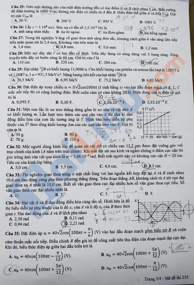 Đề thi THPT quốc gia môn vật lý 2020 mã đề 215_3