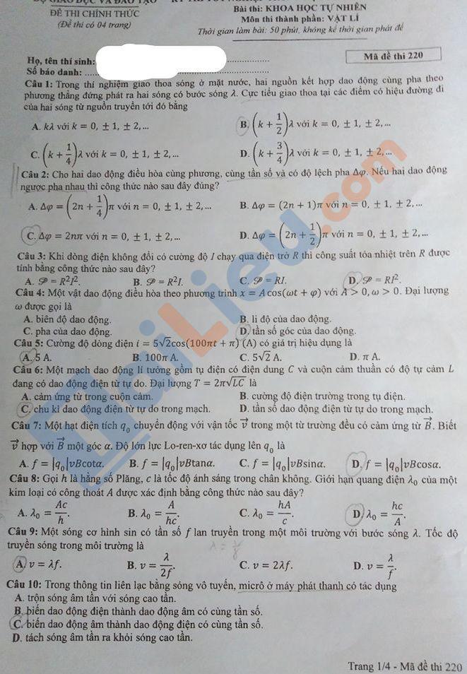 Đề môn Lý thi THPT quốc gia năm 2020 mã đề 220_1