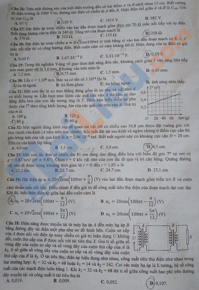 Đề môn Lý thi THPT quốc gia năm 2020 mã đề 220_3