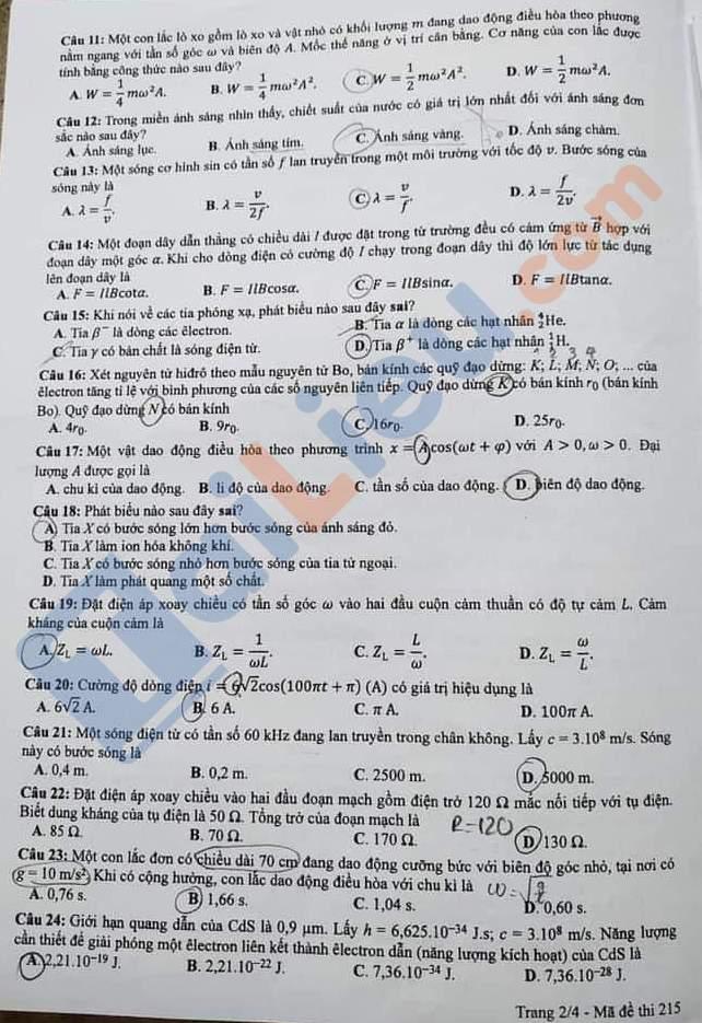Đề thi THPT quốc gia môn vật lý 2020 mã đề 215_2