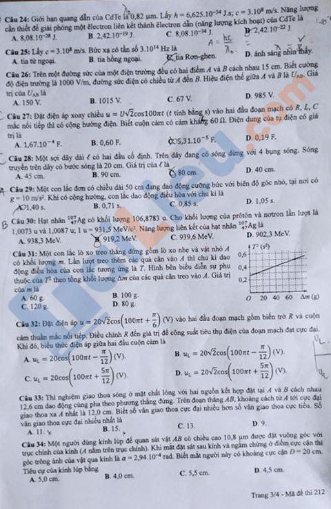 Đề môn Lý thi THPT quốc gia năm 2020 mã đề 212_3