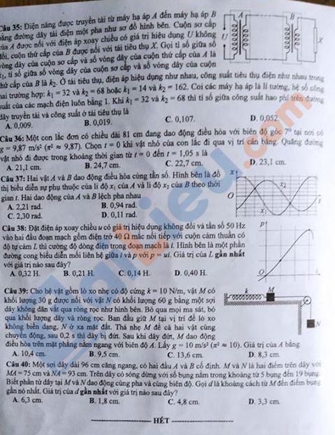 Đề môn Lý thi THPT quốc gia năm 2020 mã đề 212_4