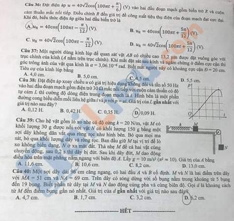 Đề môn Lý thi THPT quốc gia 2020 mã đề 201_4