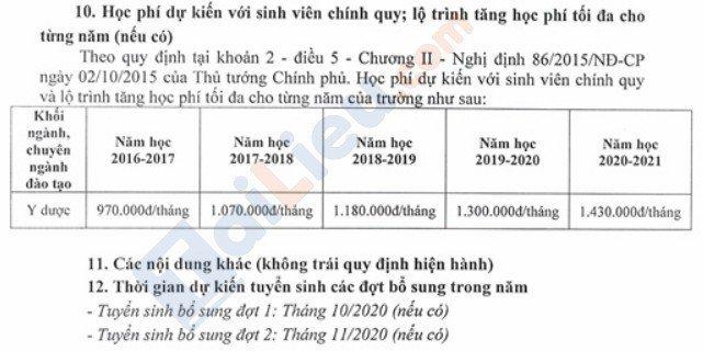 Học phí năm 2020 của trường ĐH Y Hải phòng