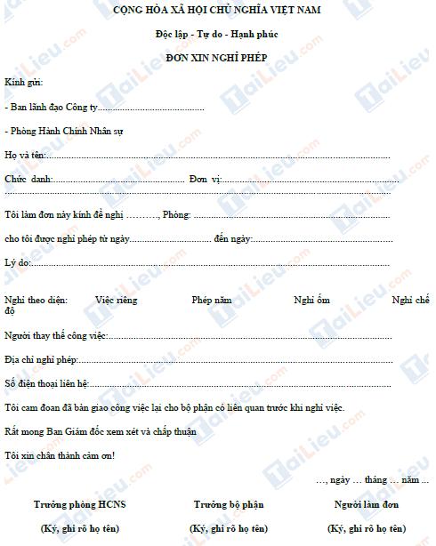 Mẫu đơn xin nghỉ phép của nhân viên công ty