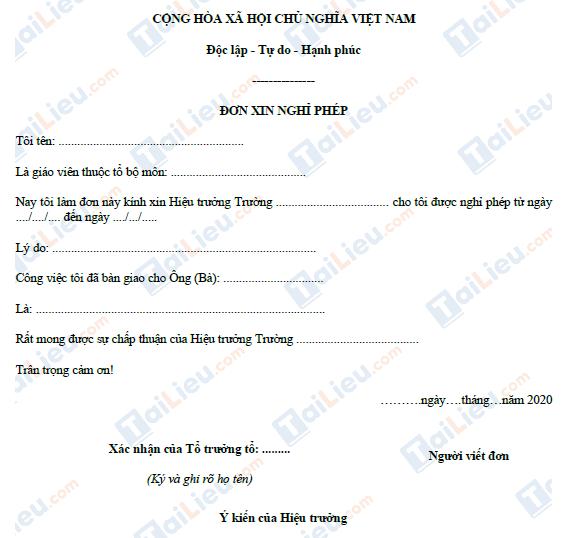 Mẫu đơn xin nghỉ phép của giáo viên số 1