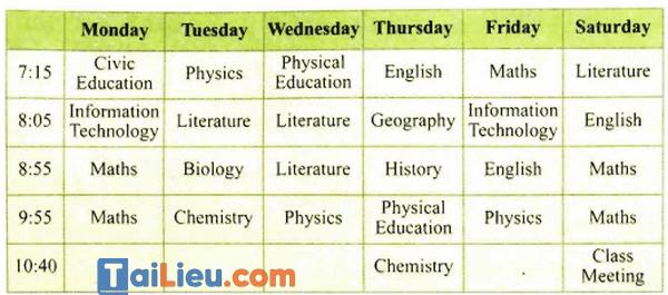 Mẫu thời khóa biểu bằng tiếng Anh