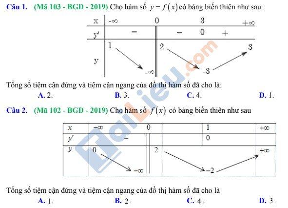 Bài tập xác định đường tiệm cận thông qua bảng biến thiên
