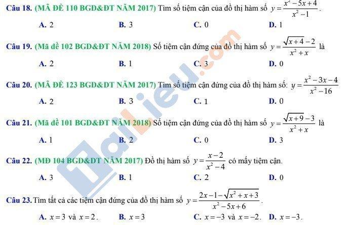 Các bài toán xác định đường tiệm cận đồ thị hàm số thông hàm số cho trước