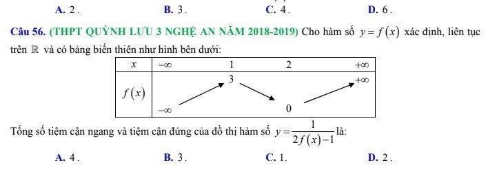 Bài tập xác định tiệm cận của đồ thị hàm số g[f(x)] khi biết bảng biến thiên hàm số f(x)