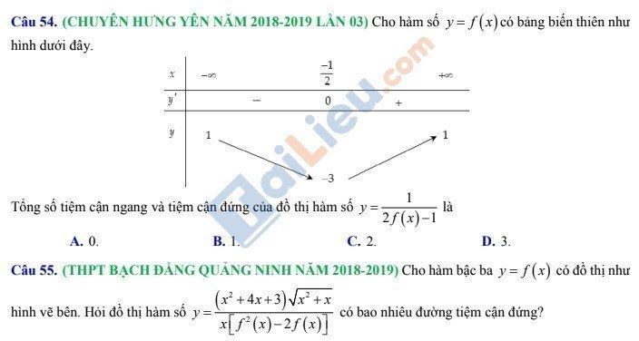 Câu hỏi xác định tiệm cận của đồ thị hàm số g[f(x)] khi biết bảng biến thiên hàm số f(x)