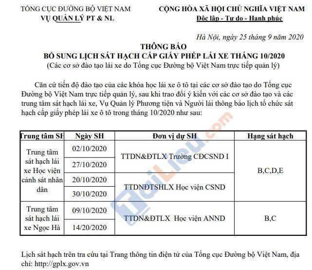 Thông báo lịch thi sát hạch lái xe của Tổng cục đường bộ Việt Nam tháng 10/2020