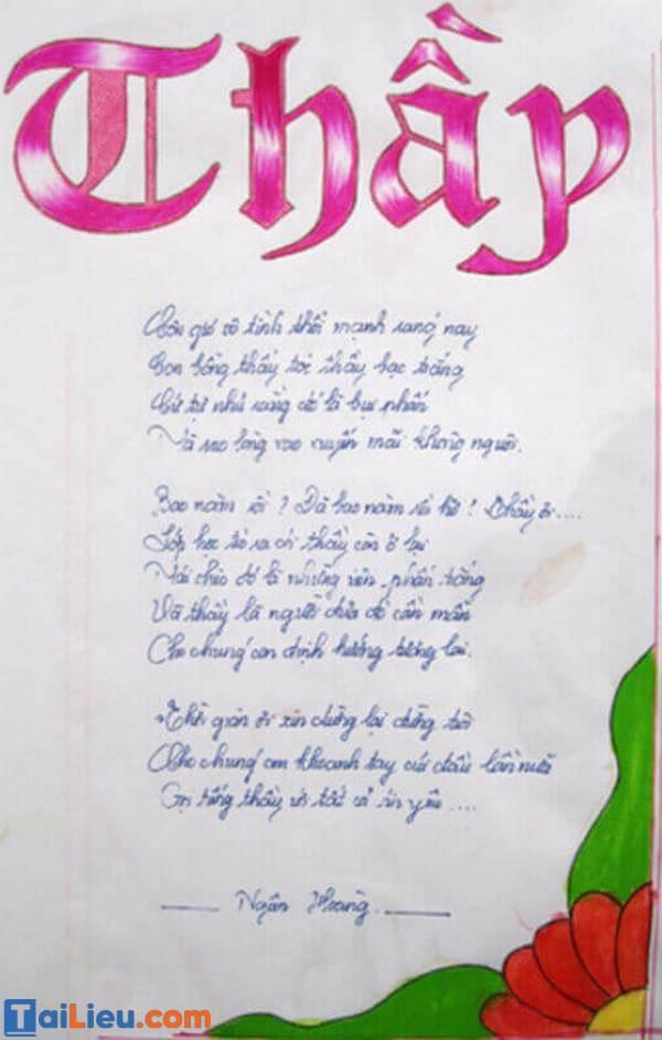 Bài thơ ngày 20 tháng 11: Thầy