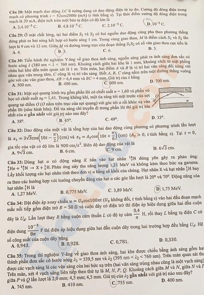 Đáp án đề thi THPT quốc gia 2019 môn Vật lý - 2
