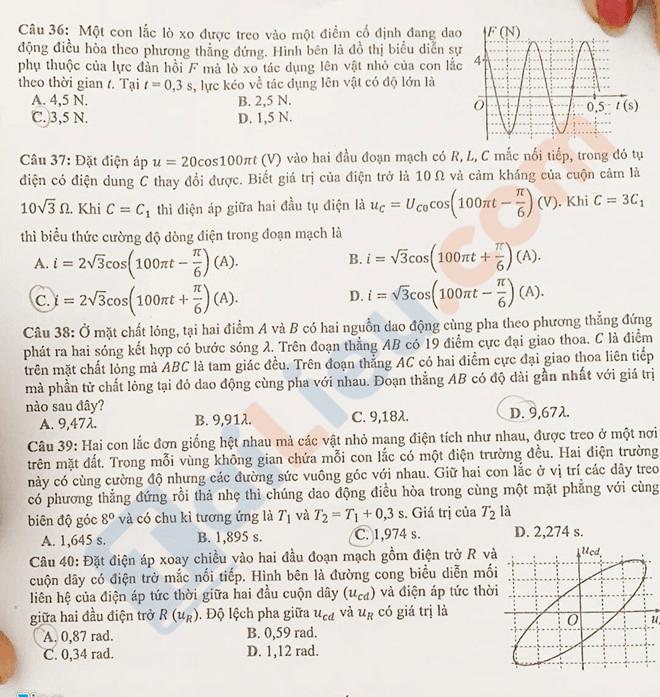 Đáp án đề thi THPT quốc gia 2019 môn Vật lý - 3